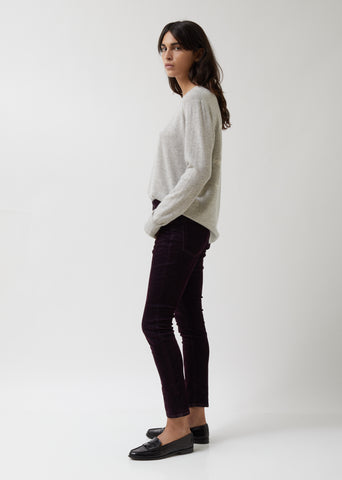 Purple Velvet Mini Skinny Pants