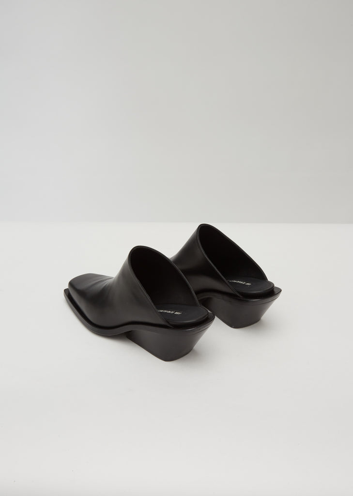 Leather Square Toe Wedge Mules