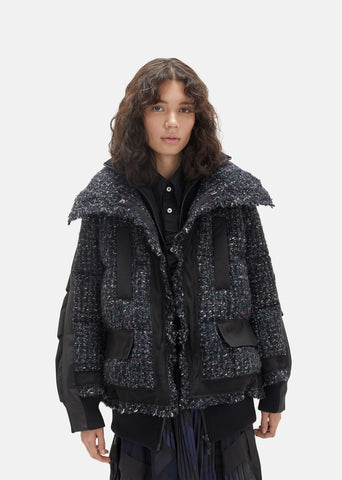 Mix Tweed Blouson Puffer Coat