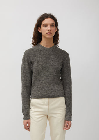 Marled Linen Blend Crew Neck Sweater