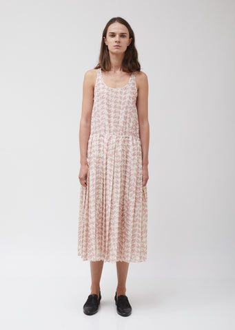 Muslin Tank Top Pleated Dress