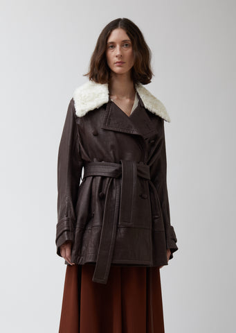 Leather Belted Peacoat with Shearling Collar