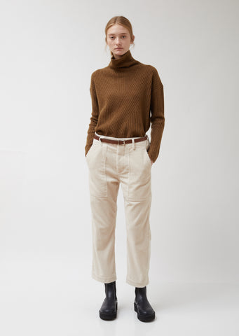 Porter Straight Pants in White Corduroy