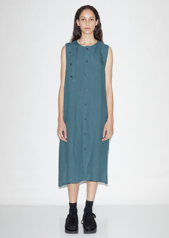 S-Asymmetrical Button Dress