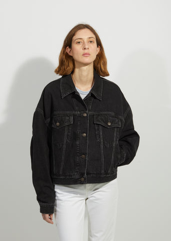 Morris Vintage Black Oversized Denim Jacket