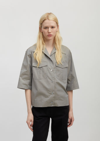 Poplin Cotton Short Sleeve Shirt