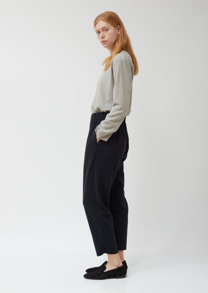 Navy Wool Easy Pants