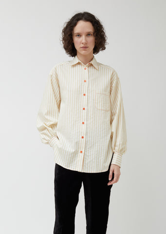 Emanuela Stripe Cotton Puff Sleeve Shirt