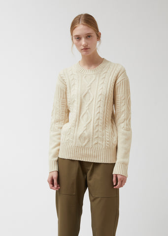 Roundneck Long Sleeve Cable Knit Merino Wool Sweater
