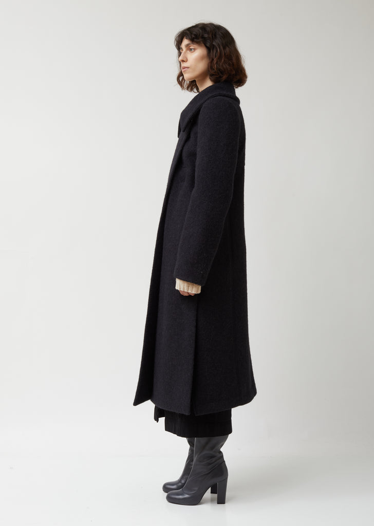 Soft Wool & Mohair Melton Fitted Coat