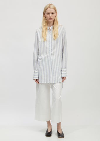 Cotton Stripe Band Collar Long Shirt