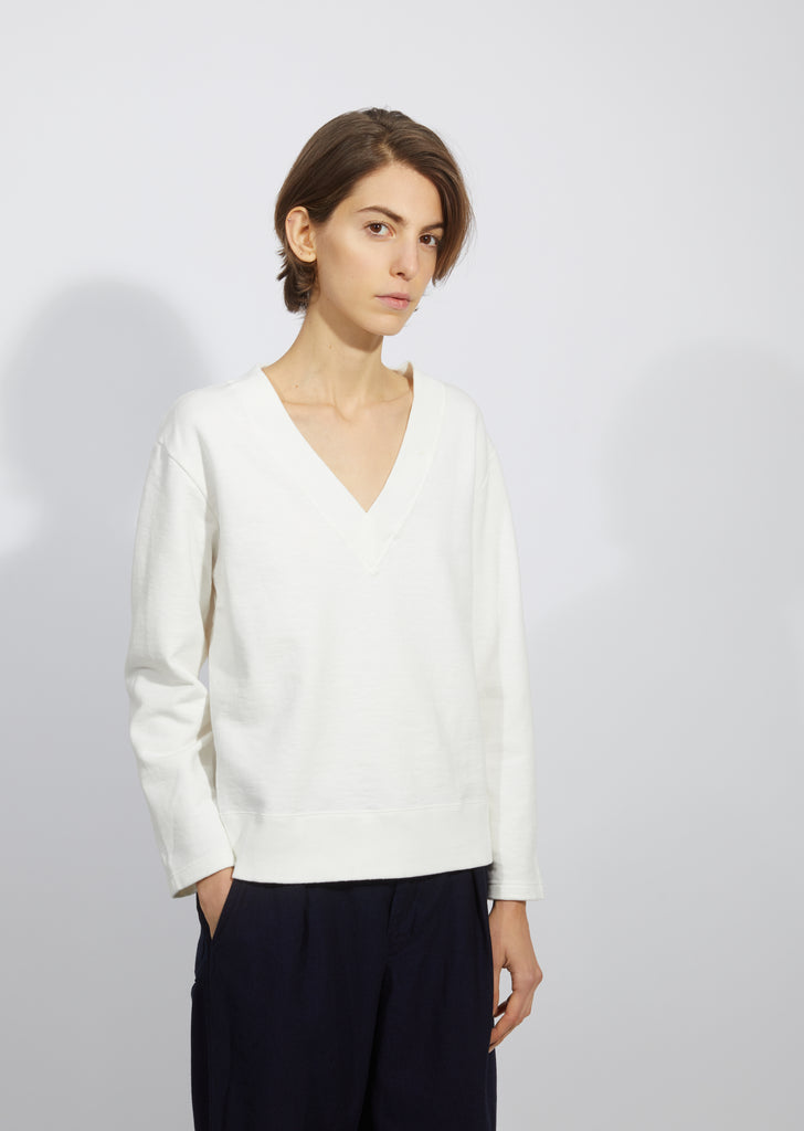 Slub V-Neck Sweatshirt