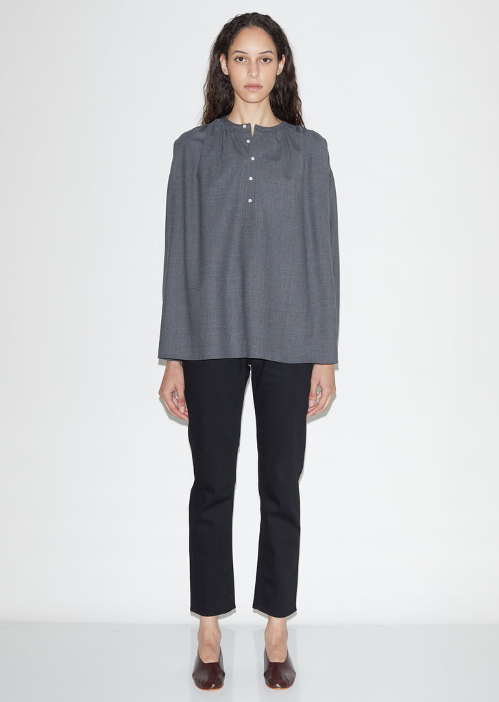 Gathered Wool Cupro Blouse