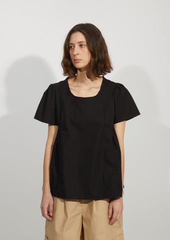 Cotton Poplin Side Pleated Top