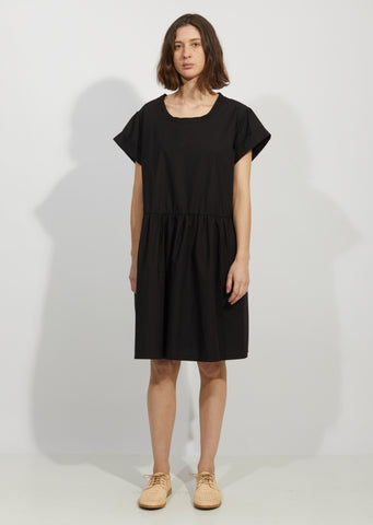 Cotton Poplin Pleated Sleeve Dress