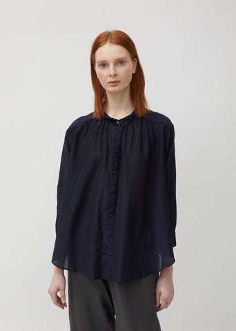 Shirred Cotton & Silk Blouse