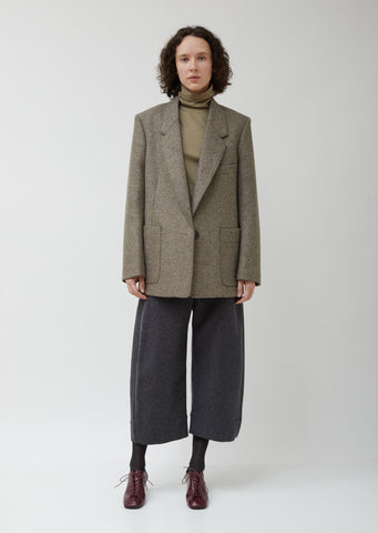 Single Breasted Wool Suit Jacket