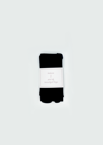 Fine Wool Tabi Tights — Black