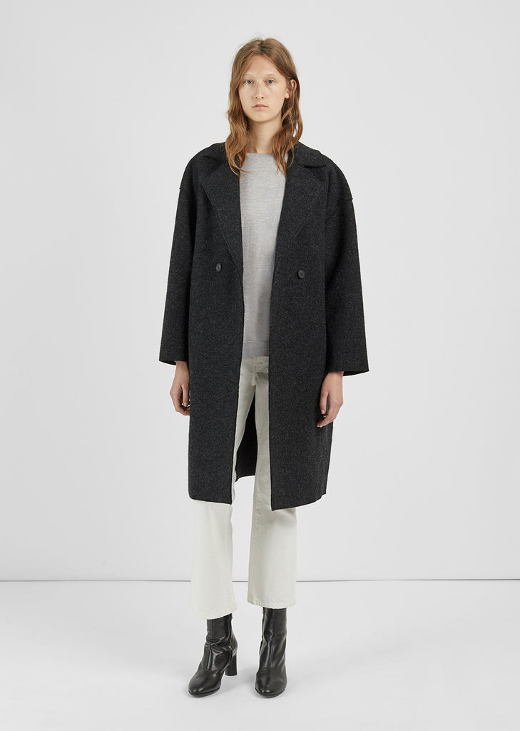 Boiled Wool Cocoon Coat