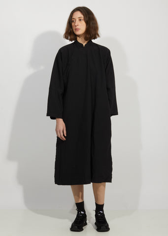 Garment Treated Oxford Mandarin Collar Dress