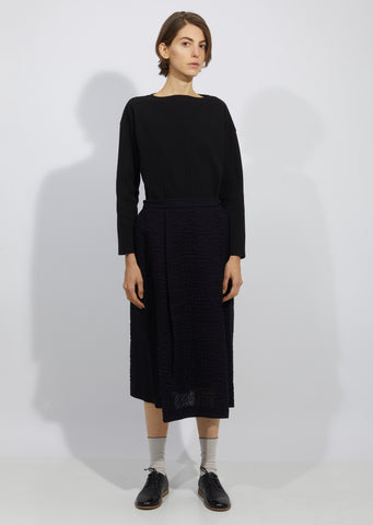 Wavy Cotton Gauze Tuck Skirt