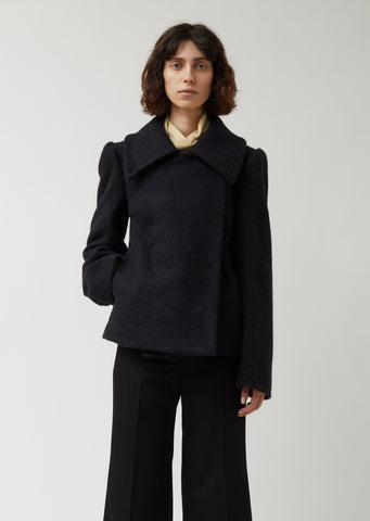 Soft Wool & Mohair Melton Fitted Blouson