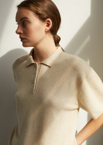 Cashmere Lezard Polo Sweater