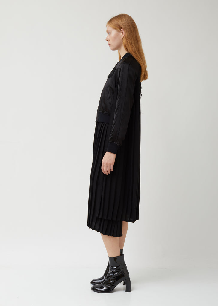 Silk Sating Polyester Pleats Embroidery Dress/ Bomber Jacket