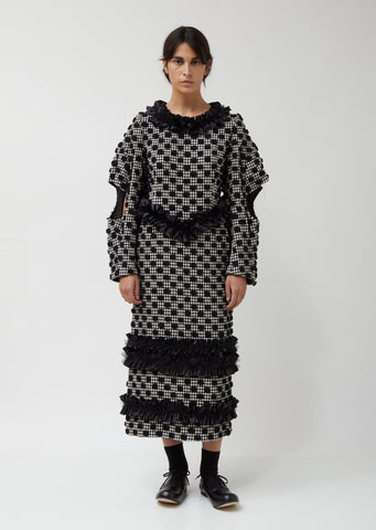 Wool Polyester Houndstooth Embroidery Polka Dot Dress