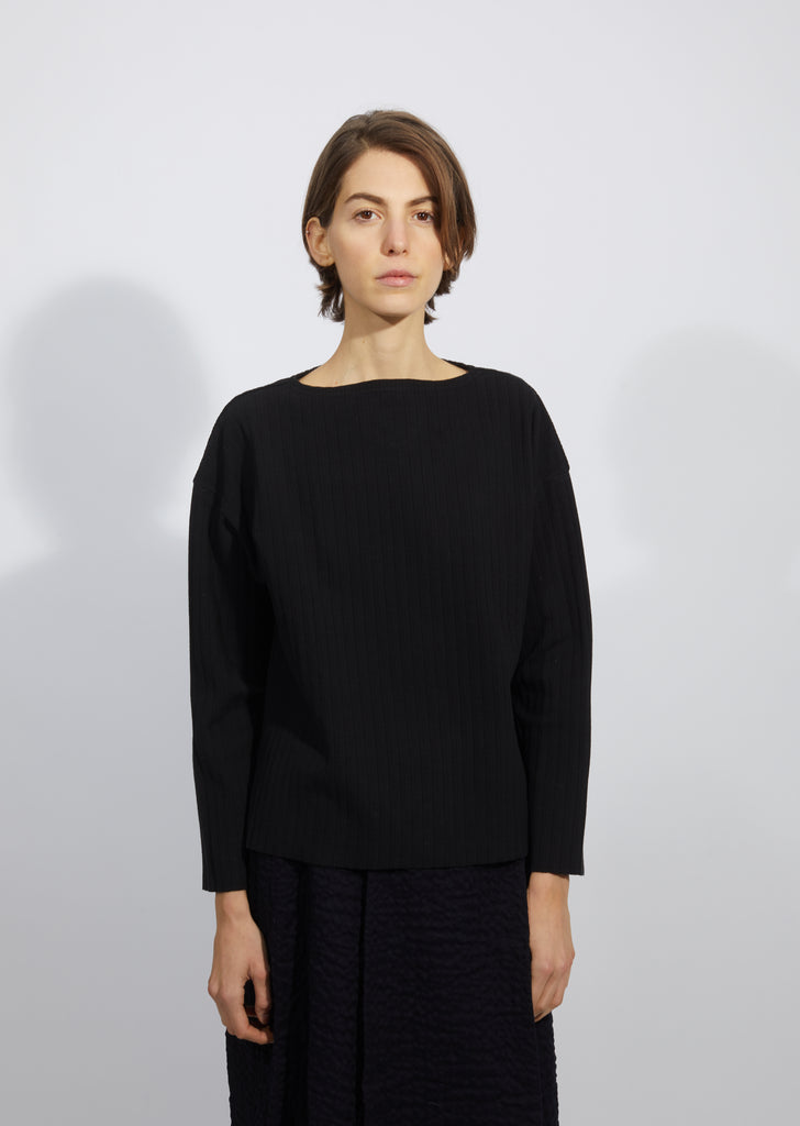 Pleated Boat Neck Long Sleeve Pullover
