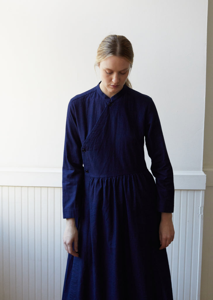 Indigo Yarn Dyed Flannel Bassen Dress