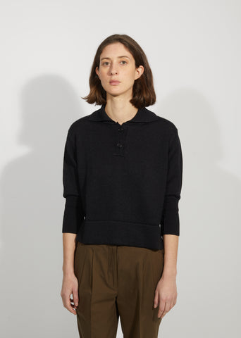 Linen & Wool Polo Sweater