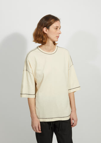 Che Oversized Wide Sleeve  Constrast Stitch Tee