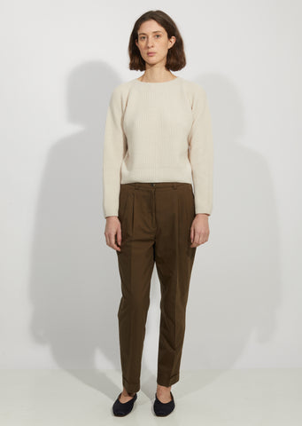Cotton Pleat Pocket Trouser