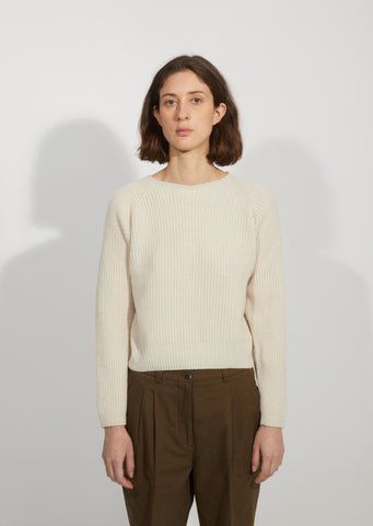 Wool & Cashmere Ribbed Crewneck Sweater