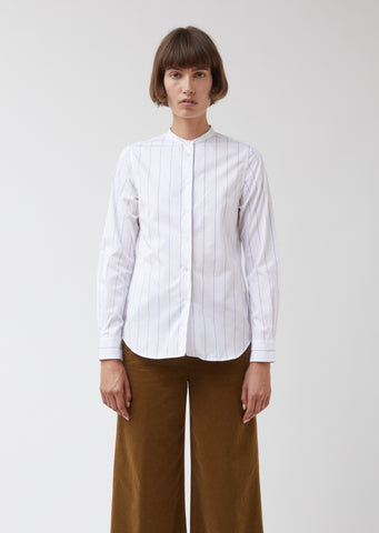Collarless Striped Button Front Shirt