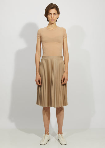 Pleated Polyester Cupro Chambray Twill Skirt