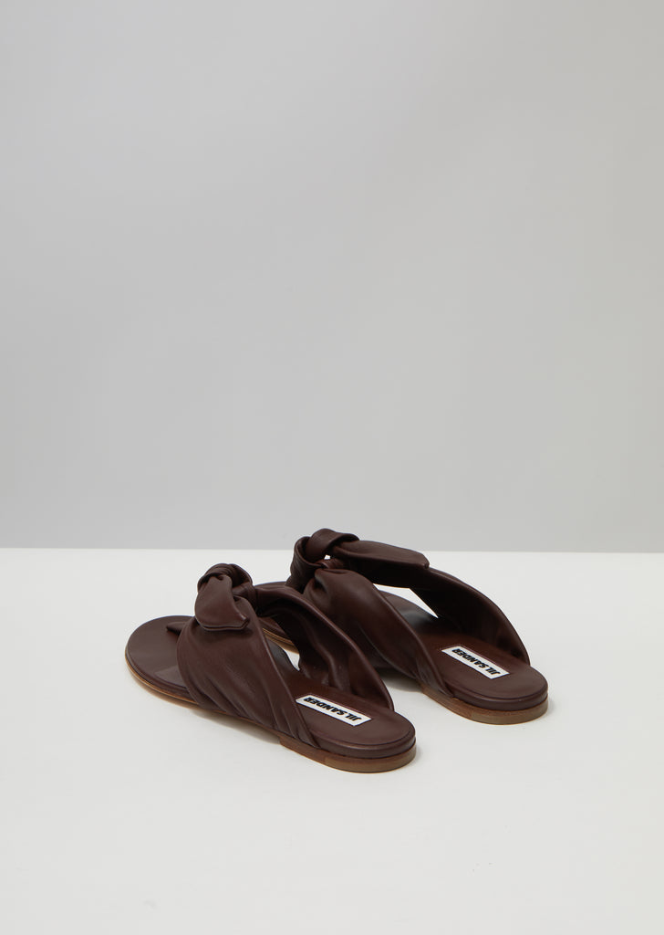 Knot Leather Flat Sandals