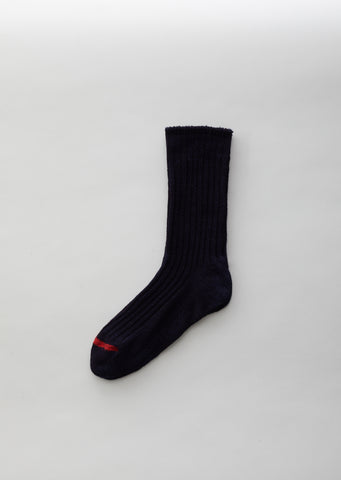 Indigo Dyed Cotton Standard Rib Socks
