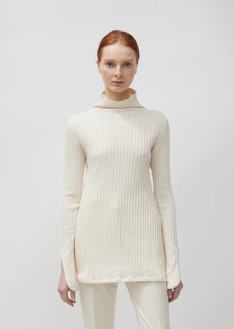 Ribbed Long Sleeve Turtleneck Top