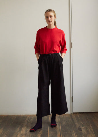 "Women Stitched ""Sashiko"" Wide Straight Pants"