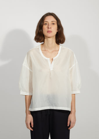 Garment Washed Taffeta V-Neck Blouse