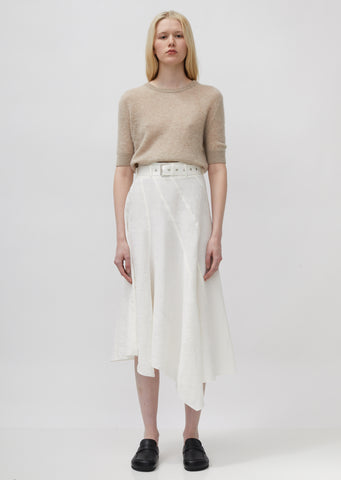 Asymmetric Belted Panelled Skirt