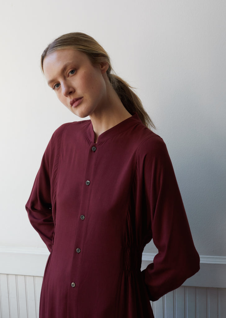 Women Rayon Twill Gathered Waist Shirt Dress