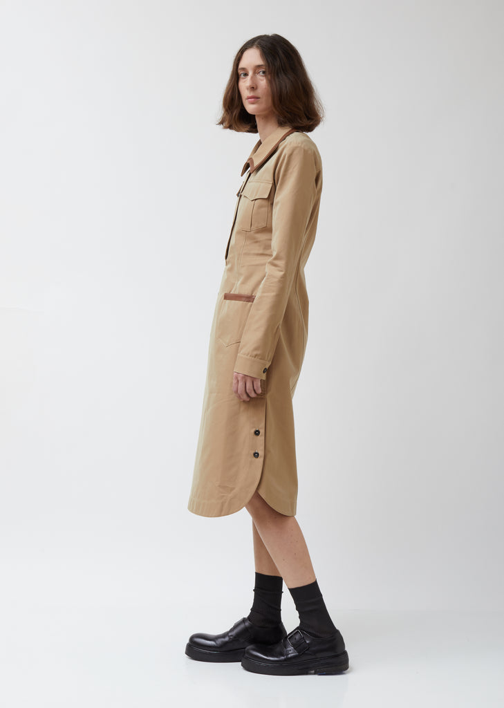 Safari Dress W/ Leather Trim