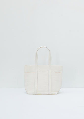 Washed Canvas 6=pockets Tote Small — White
