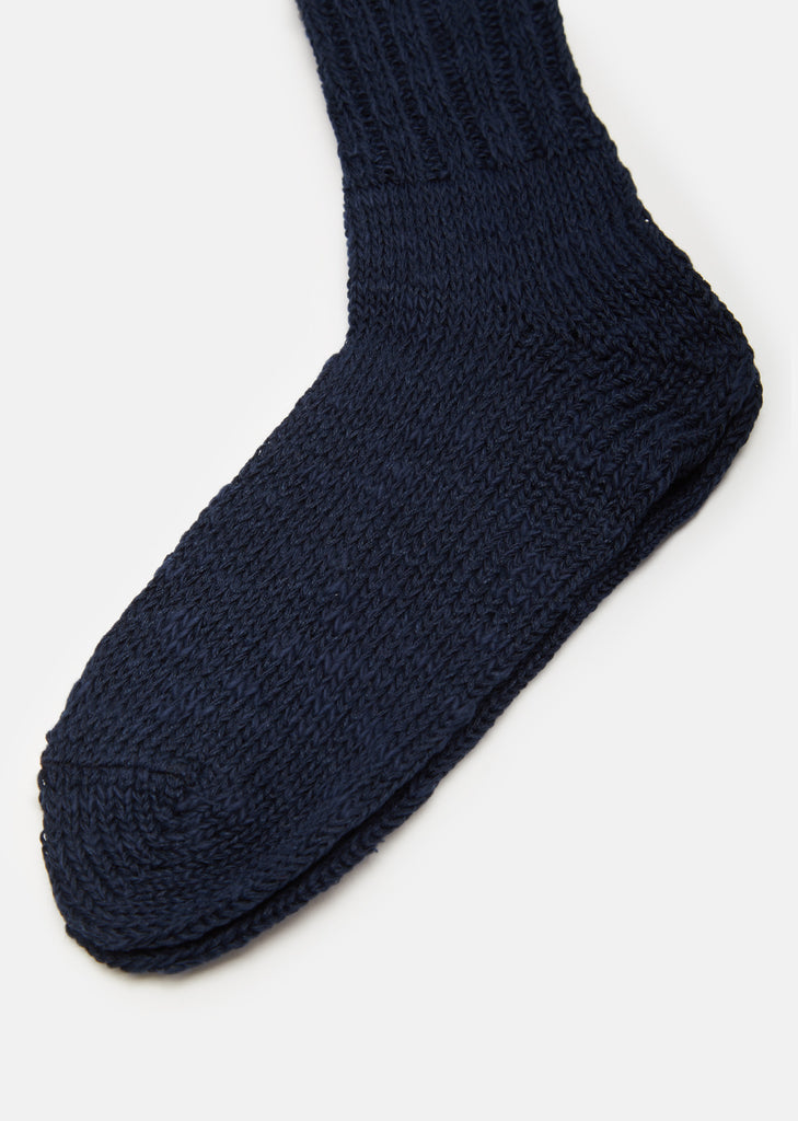 Linen-Cotton Mix Socks in Ink Blue