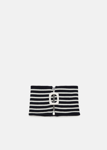 Striped Neckband With Zip Detail
