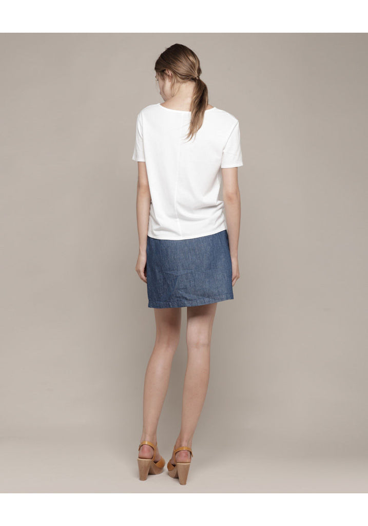 Front Pleat Denim Skirt
