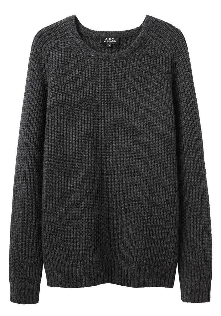 Ribbed Round Collar Pullover